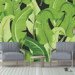 tropical banana jungle mural green dark