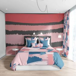 abstract modern concept bedroom uphosltery wallpaper curtain