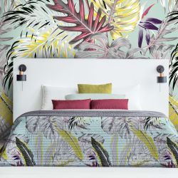jungle chic concept wallpaper bedspread fabric