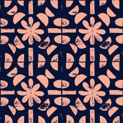 artisanal flower tile blue