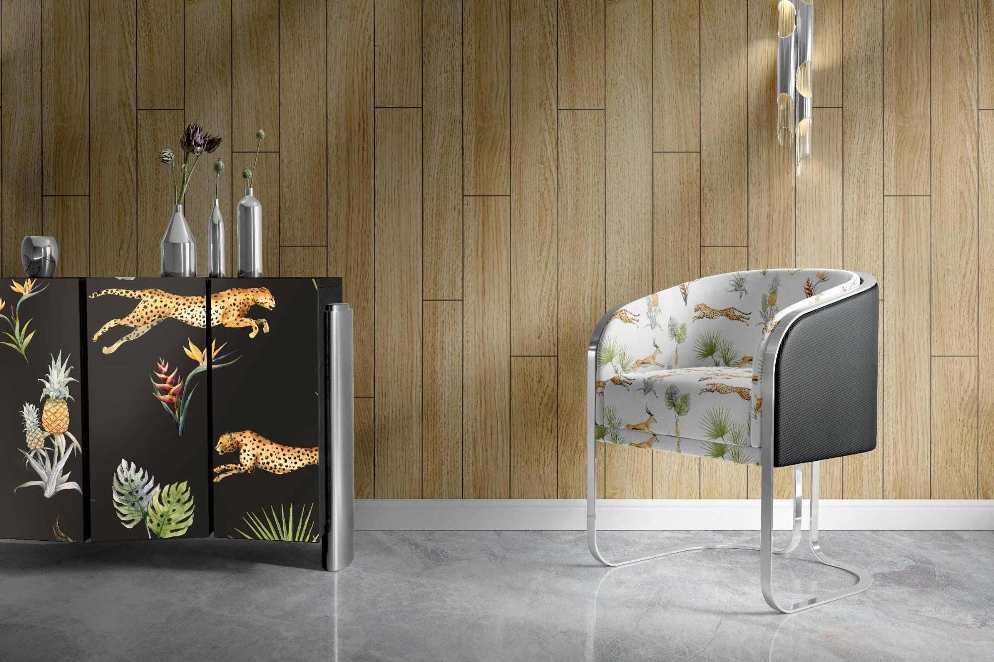jungle fever concept hard finishes upholstery and wallpaper