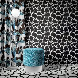 jungle fever concept wallpaper  carpet  curtain and ottoman
