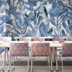 native waltz concept wallpaper and chair upholstery