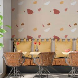 terrazzo concept hospitality setting upholstery and wallpaper