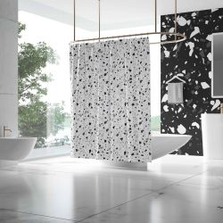 terrazzo concept shower curtain and wallpaper
