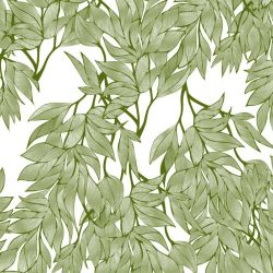 fronds silhouette interwined white olive twotone