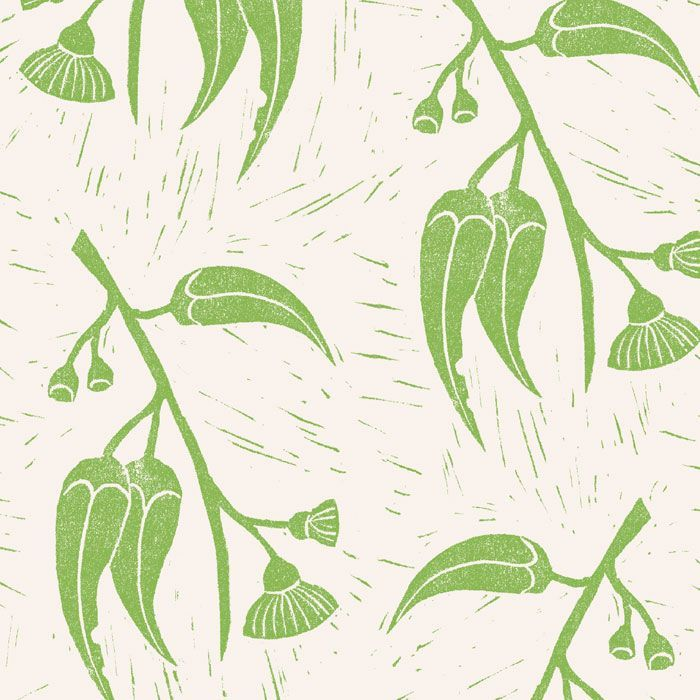 native waltz lino cut gum blossom greenery