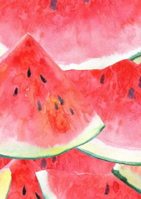 fruit veg watermelon watercolour 3275