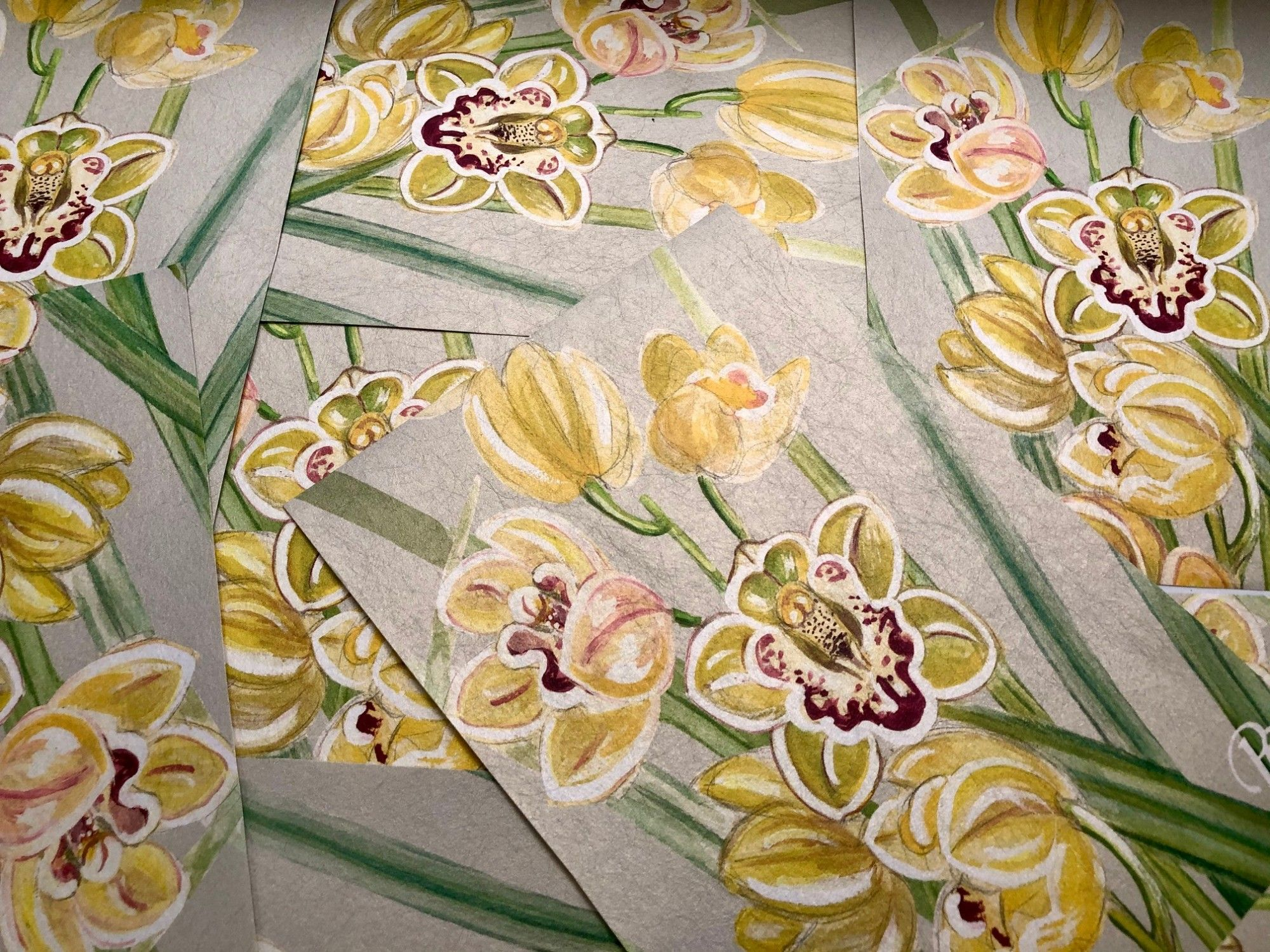 the secret garden orchid border on metallic gold