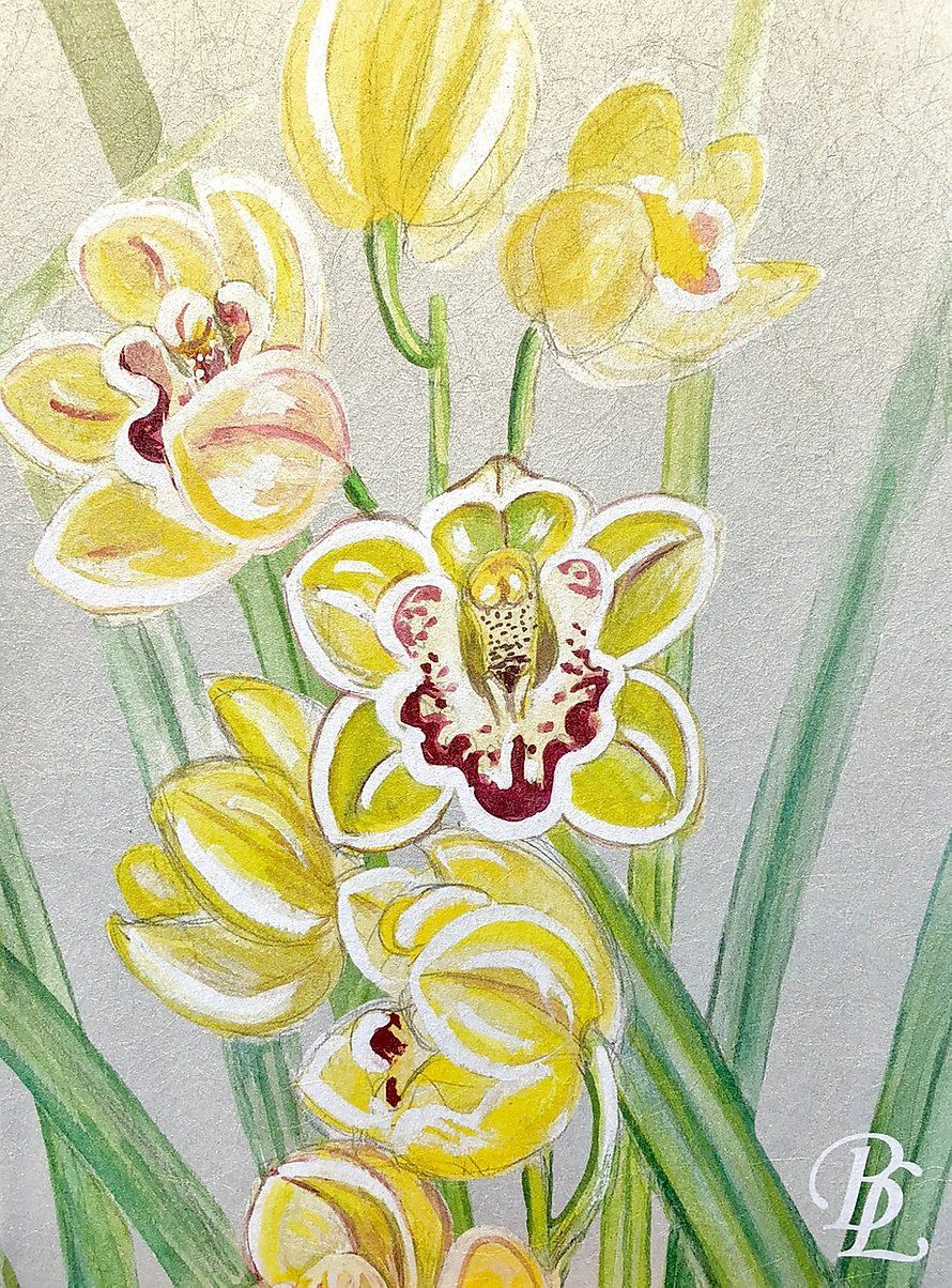 the secret garden orchid border on metallic gold substrate