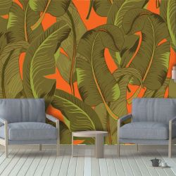 tropical banana jungle mural orange