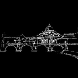 city lines murals rome tiber white on black