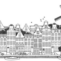 hand drawn cities amsterdam border