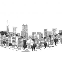 hand drawn cities sanfrancisco border