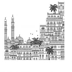 hand drawn cities yemen square