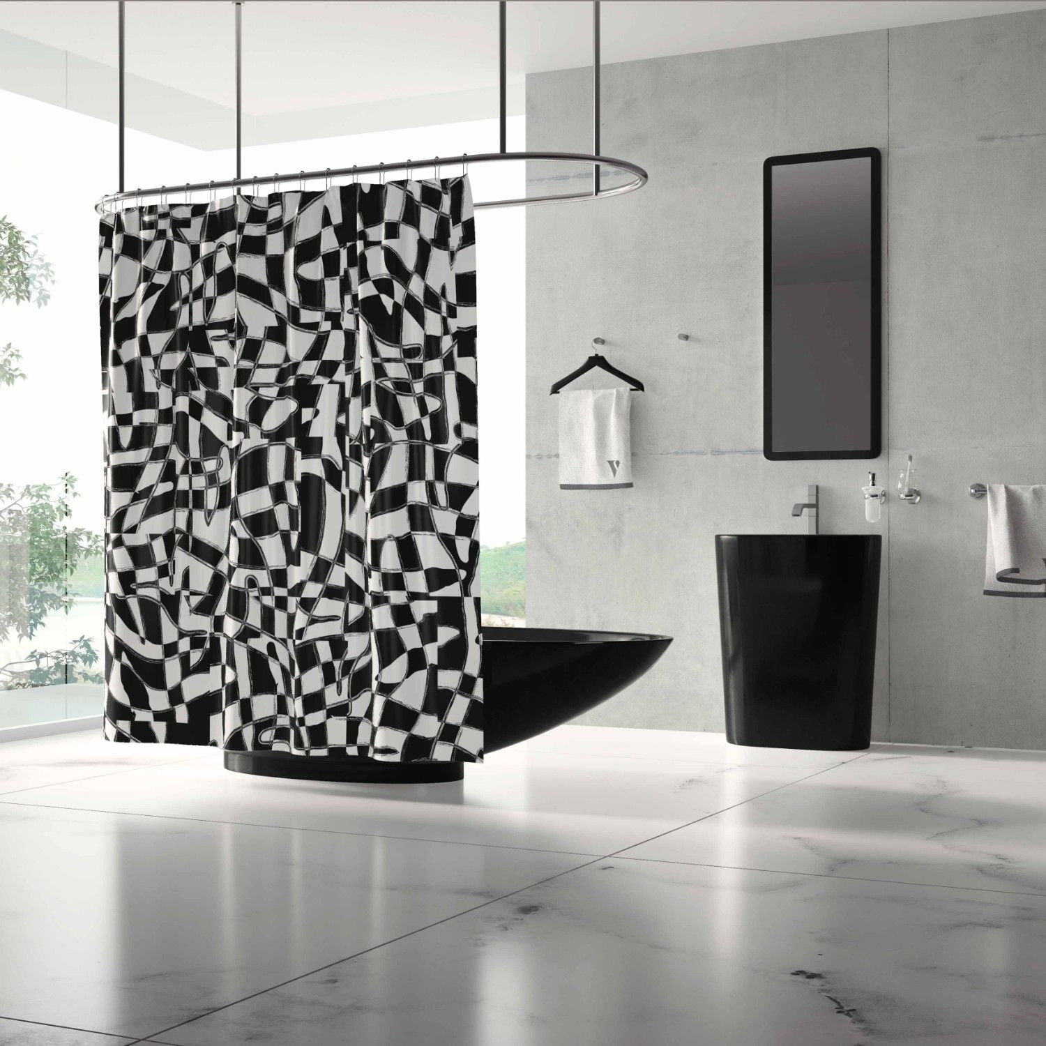 crossroads concept shower curtain
