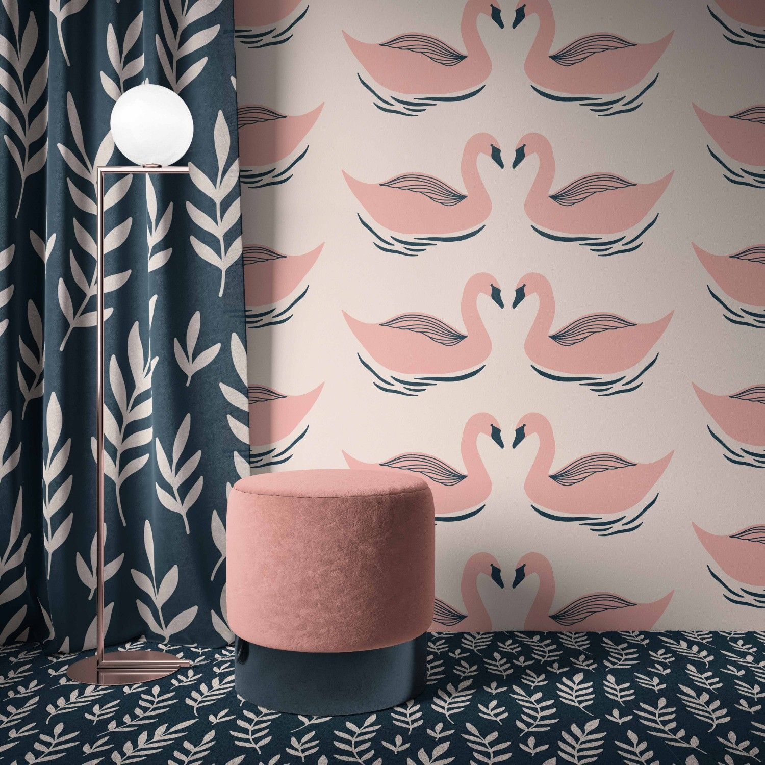blooming impressions concept wallpaper curtain carpet