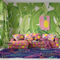 tropical concept wallpaper upholstery rug curtain artwork