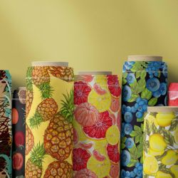 fruit veg concept fabric rolls