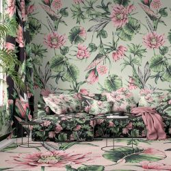 jungle chic concept wallpaper rug upholstery curtain