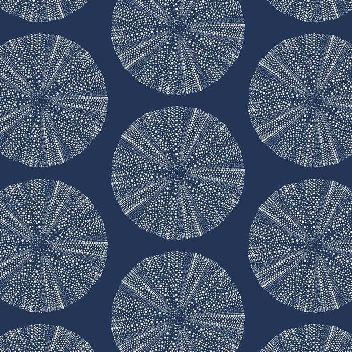 pacific urchin navy blue ground with driftwood