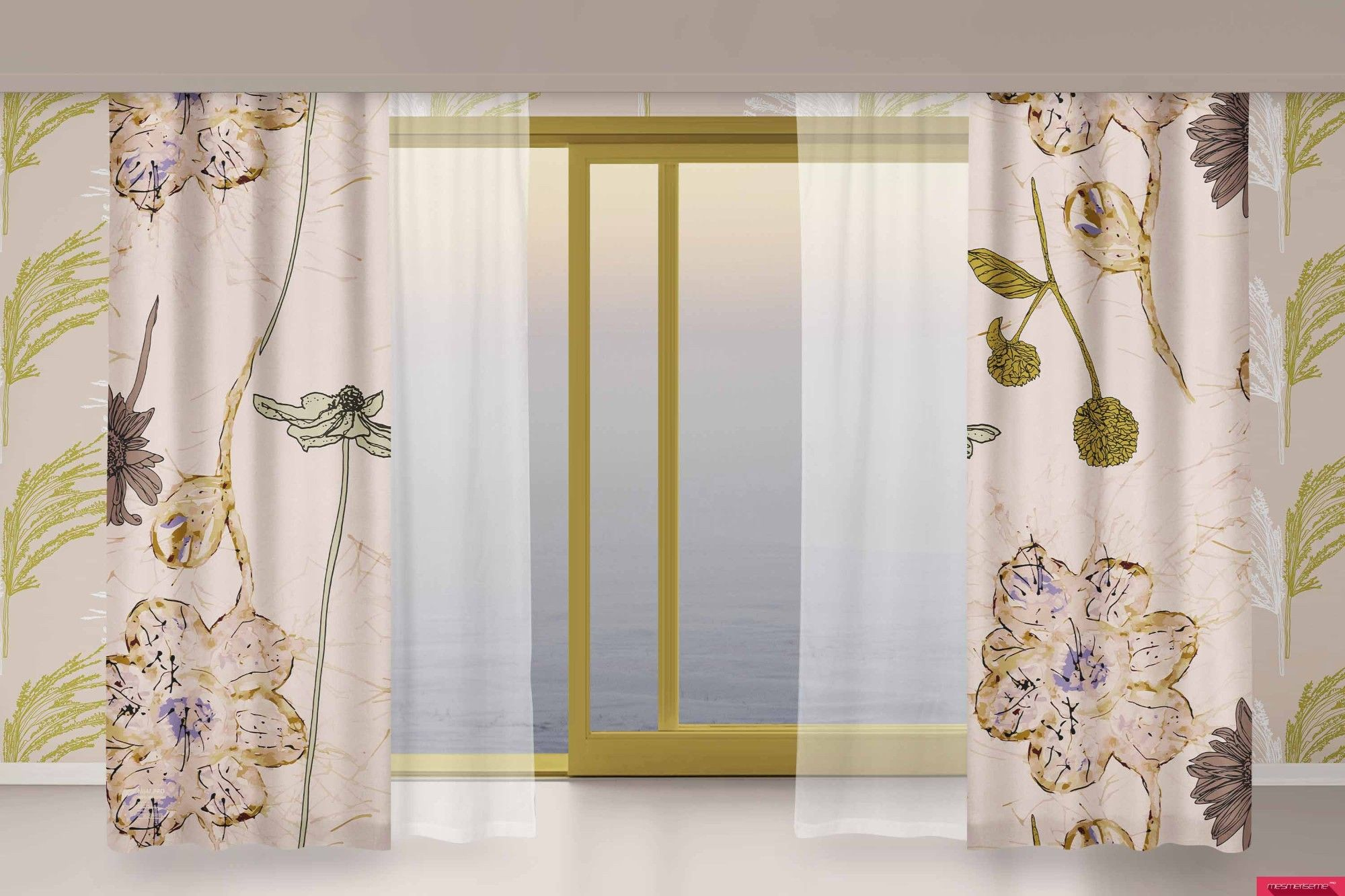 winter garden concept curtain wallpaper
