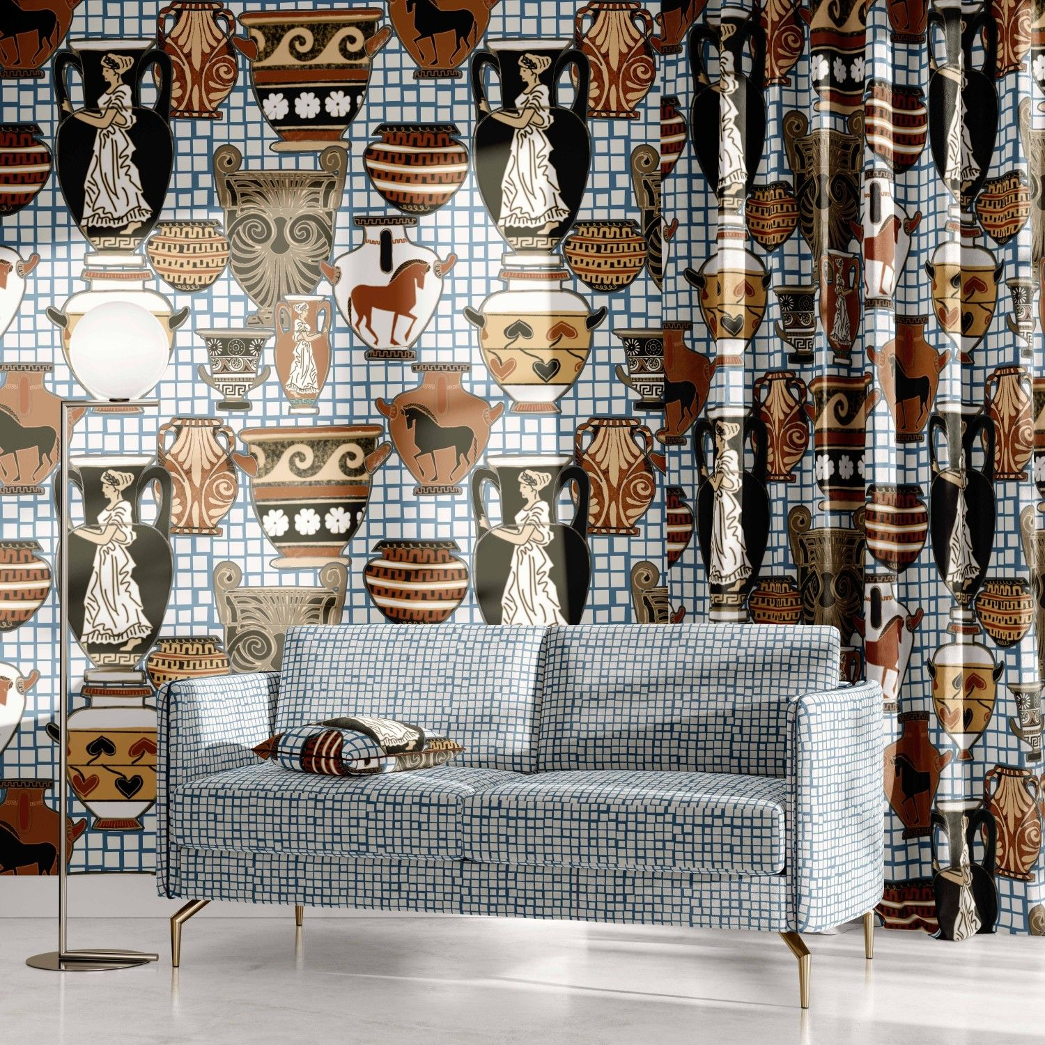 porcelain concept wallpaper curtain upholstery
