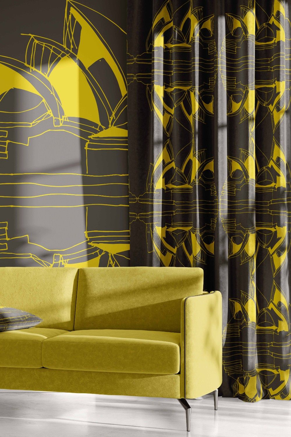 city lines concept wallpaper curtain upholstery