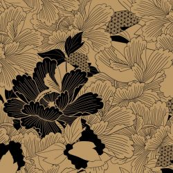 japanese inspired oriental carnation dark gold look detail