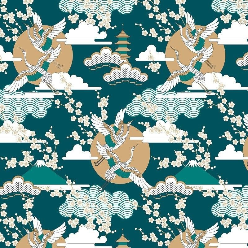 japanese inspired birds of happiness emerald peacock spice white