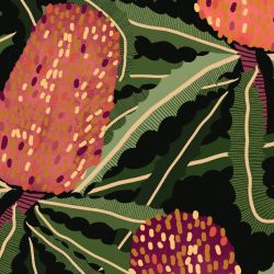 australian botanical banksia tangle original detail