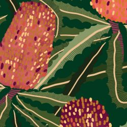 australian botanical banksia tangle bottlegreen detail