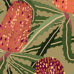 australian botanical banksia tangle tan detail