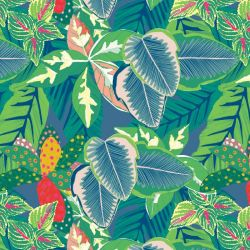 australian botanical dense foliage on chambray