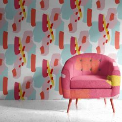 colour burst concept wallpaper chair upholstery