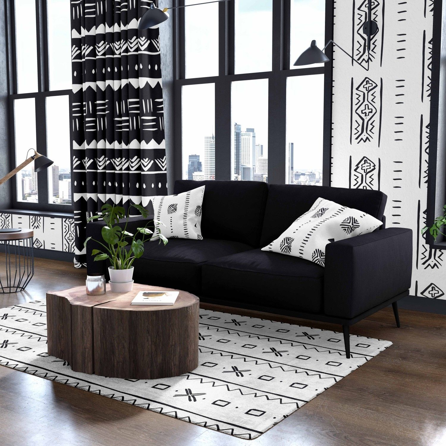 african mudcloth concept rug wallpaper curtain