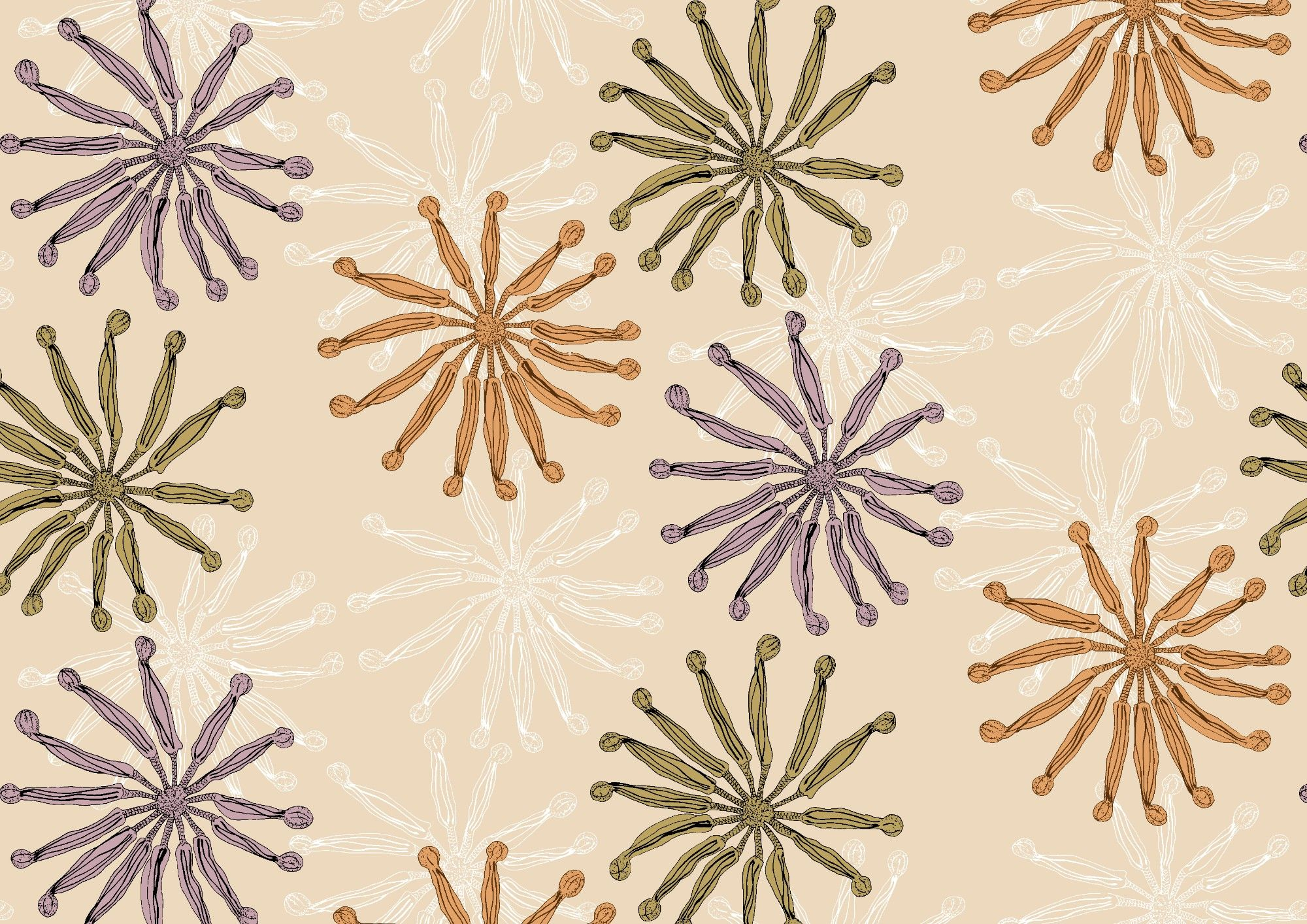 winter garden flower wheels beige