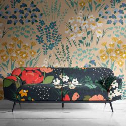 flower fields concept wallpaper upholstery lampshade