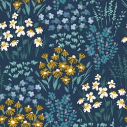 flower fields sprouting blossoms navy