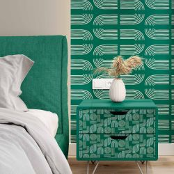 modern glamour concept bedhead wallpaper table