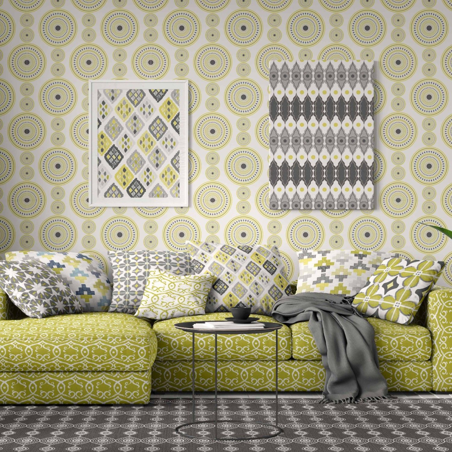 la paradiso concept wallpaper artwork couch upholstery and cushions
