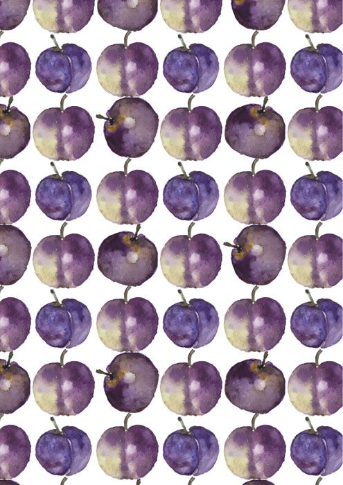 fruit veg watercolour plums