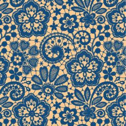lace floral  royalblue apricot